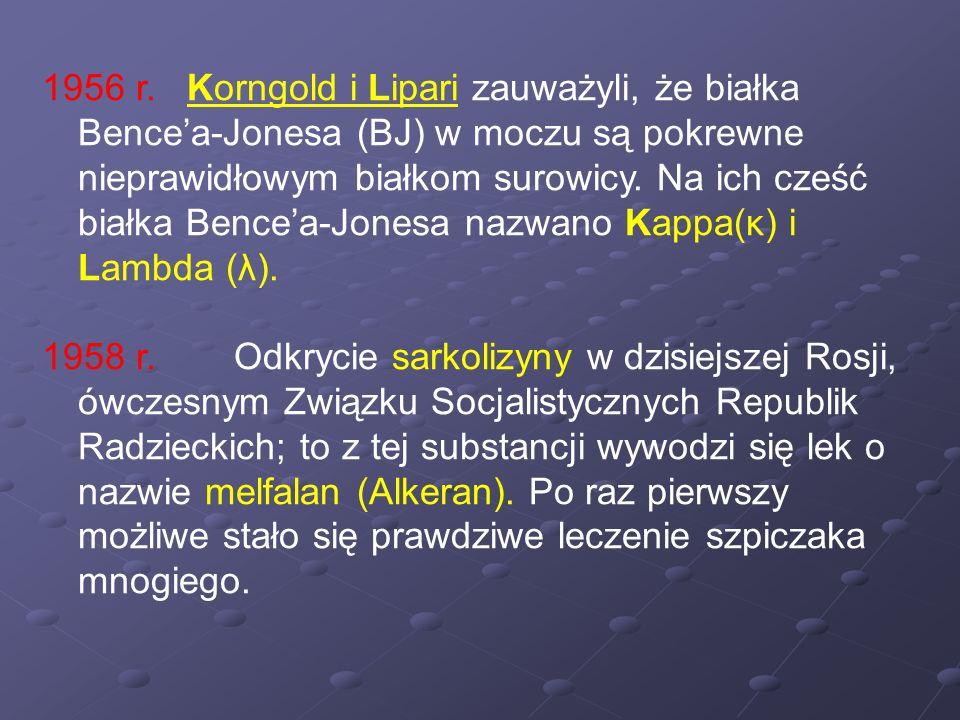 1956 r. Korngold i Lipari zauważyli, że białka Bence'a-Jonesa (BJ) w moczu są pokrewne nieprawidłowym białkom surowicy. Na ich cześć białka Bence'a-Jonesa nazwano Kappa(κ) i Lambda (λ).