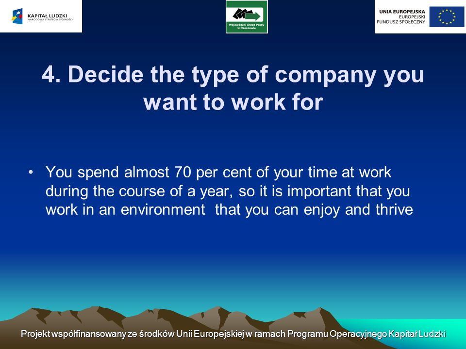 4. Decide the type of company you want to work for