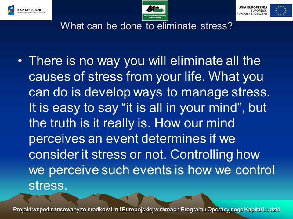 What can be done to eliminate stress