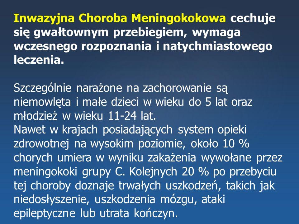 Inwazyjna Choroba Meningokokowa cechuje się gwałtownym przebiegiem, wymaga wczesnego rozpoznania i natychmiastowego leczenia.
