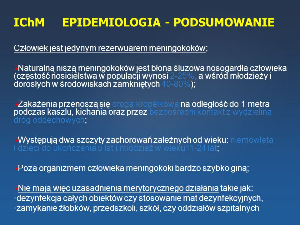 IChM EPIDEMIOLOGIA - PODSUMOWANIE