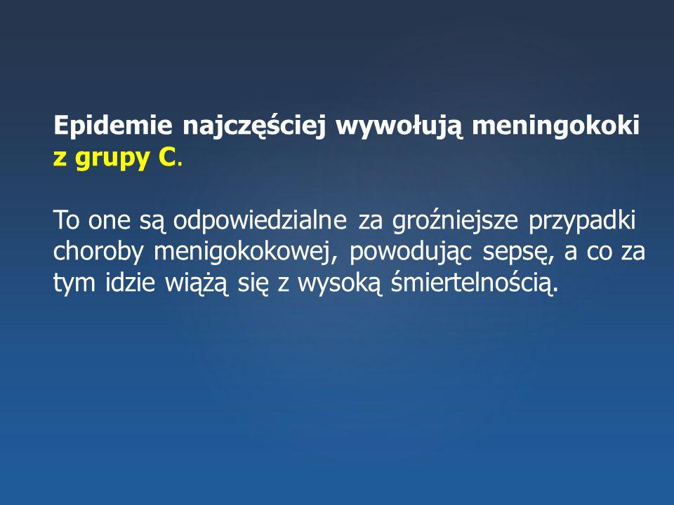 Epidemie najczęściej wywołują meningokoki z grupy C.