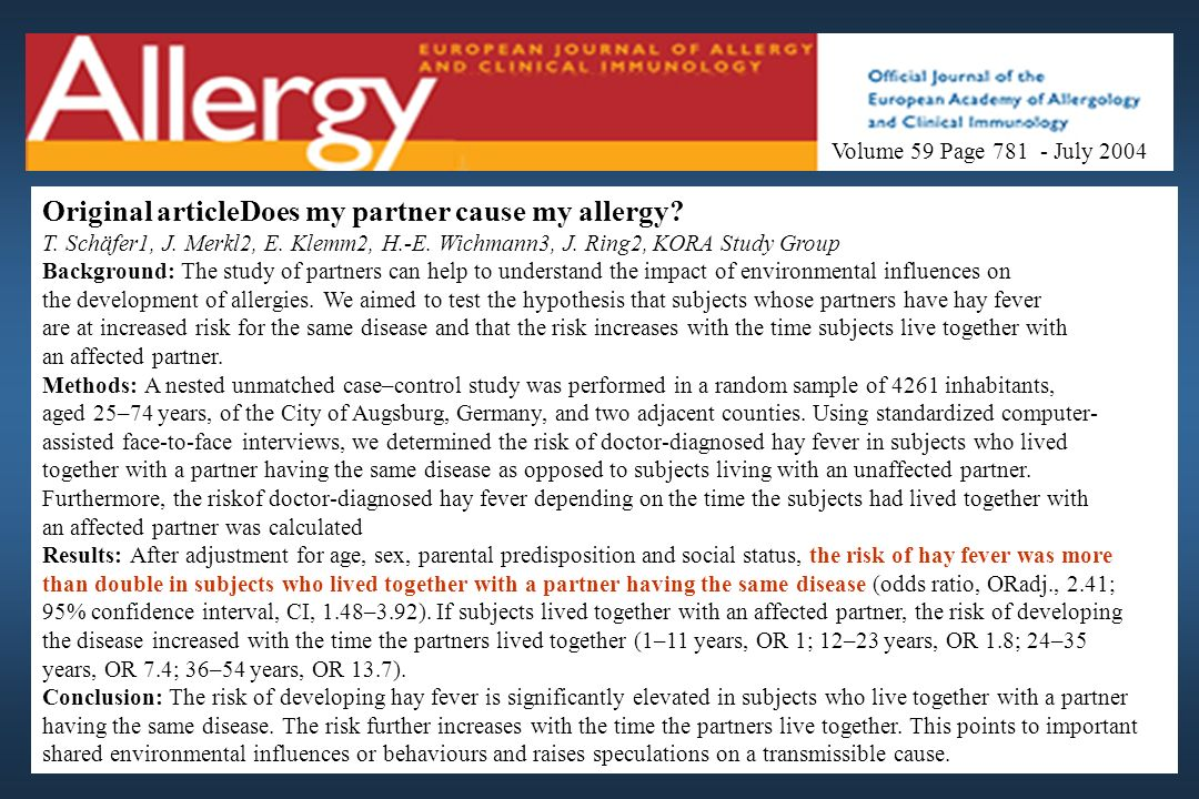 Original articleDoes my partner cause my allergy
