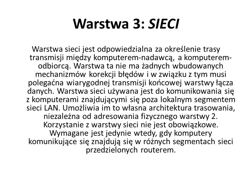 Warstwa 3: SIECI