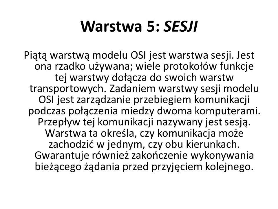 Warstwa 5: SESJI