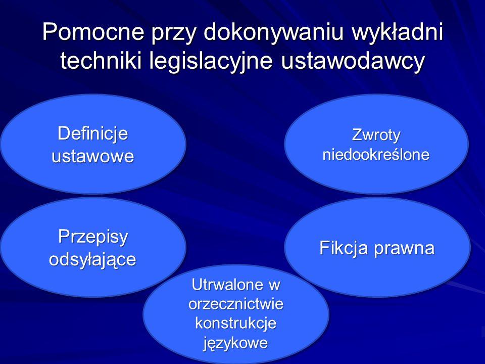Pomocne przy dokonywaniu wykładni techniki legislacyjne ustawodawcy