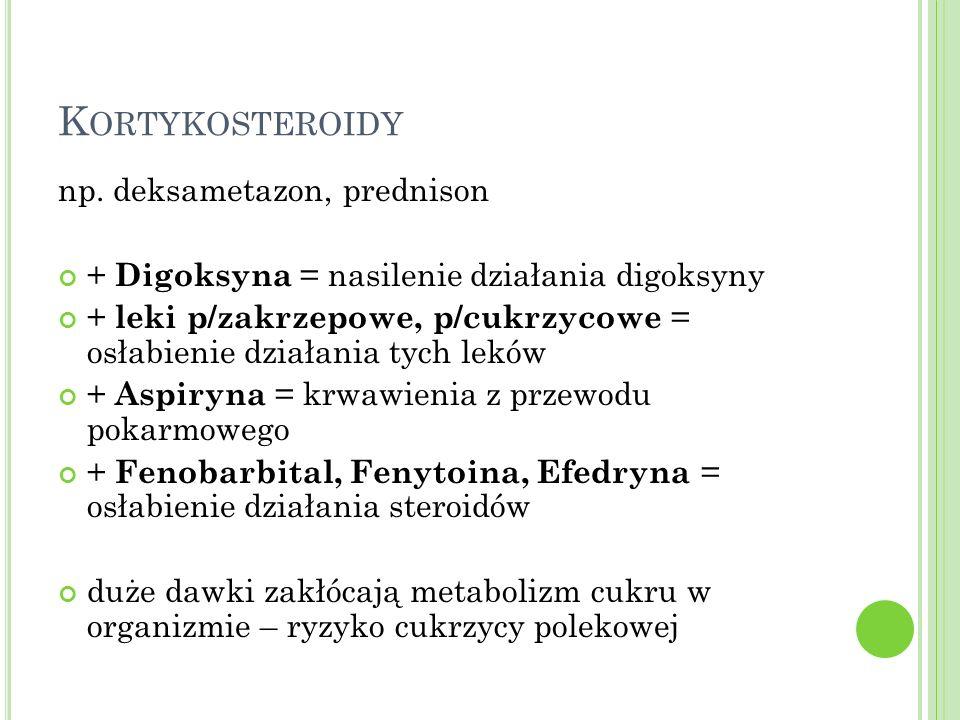 Kortykosteroidy np. deksametazon, prednison