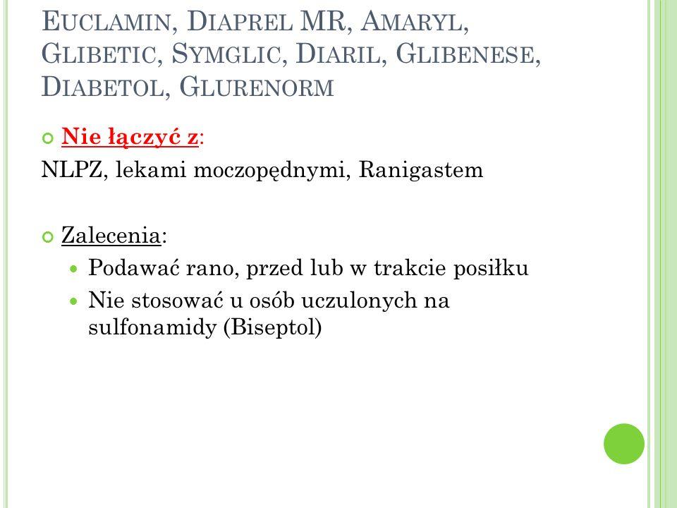 Euclamin, Diaprel MR, Amaryl, Glibetic, Symglic, Diaril, Glibenese, Diabetol, Glurenorm