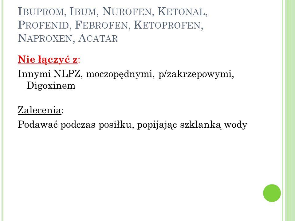 Ibuprom, Ibum, Nurofen, Ketonal, Profenid, Febrofen, Ketoprofen, Naproxen, Acatar