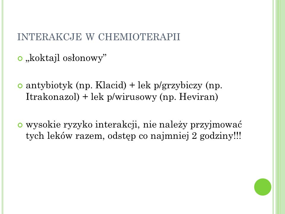 interakcje w chemioterapii