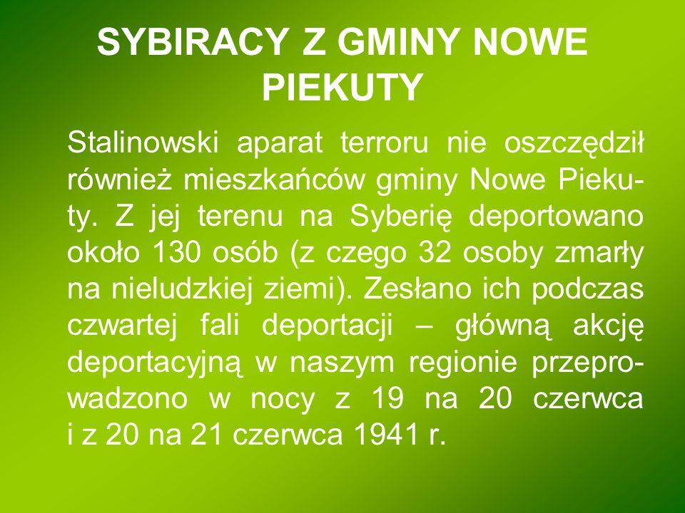 SYBIRACY Z GMINY NOWE PIEKUTY
