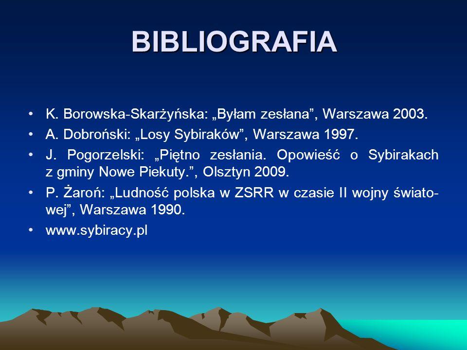 """BIBLIOGRAFIA K. Borowska-Skarżyńska: """"Byłam zesłana , Warszawa 2003."""