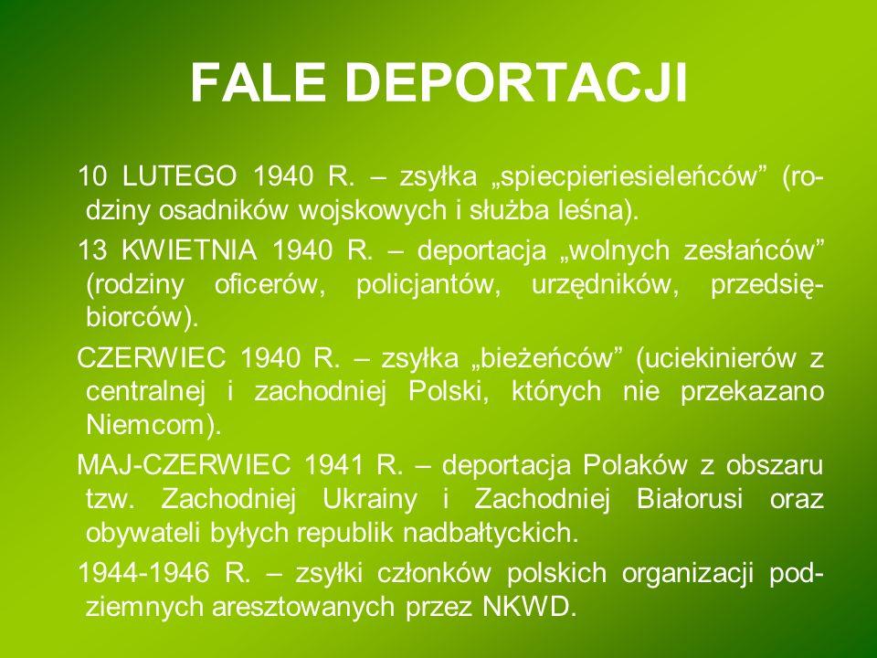 """FALE DEPORTACJI 10 LUTEGO 1940 R. – zsyłka """"spiecpieriesieleńców (ro-dziny osadników wojskowych i służba leśna)."""