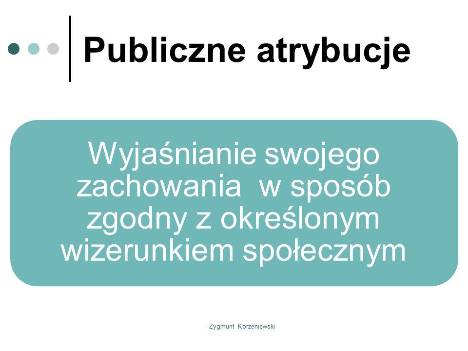 Publiczne atrybucje Wyjaśnianie swojego zachowania w sposób zgodny z określonym wizerunkiem społecznym.