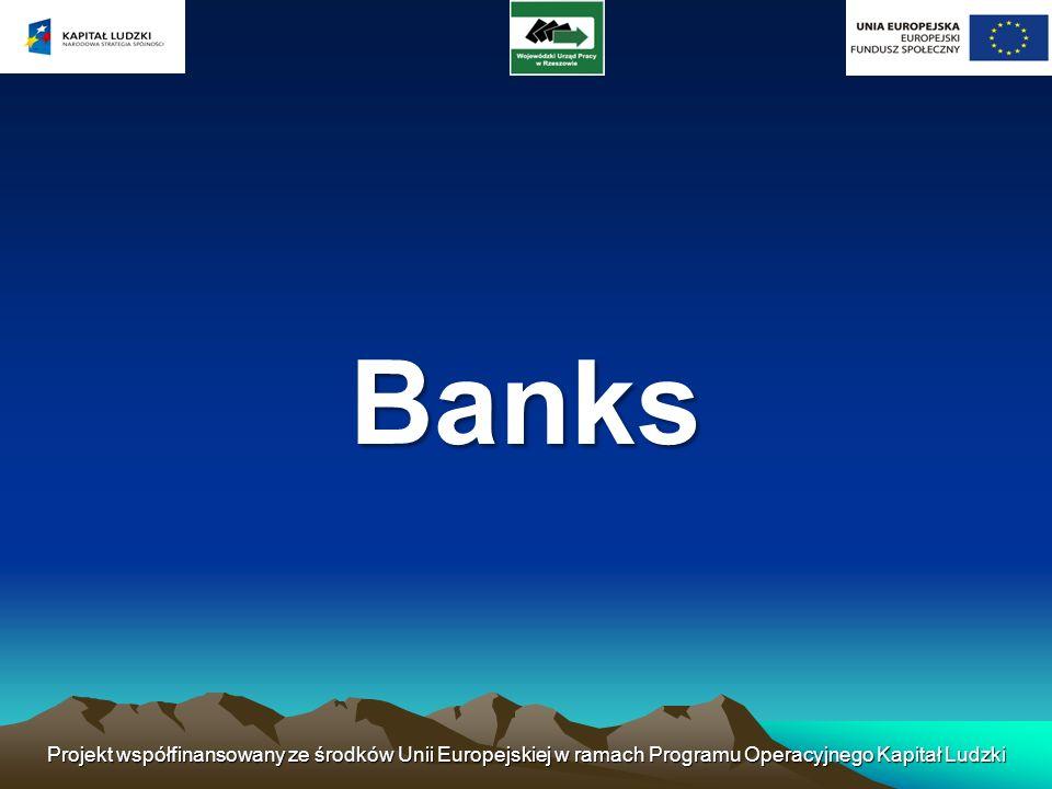 Banks Projekt współfinansowany ze środków Unii Europejskiej w ramach Programu Operacyjnego Kapitał Ludzki.
