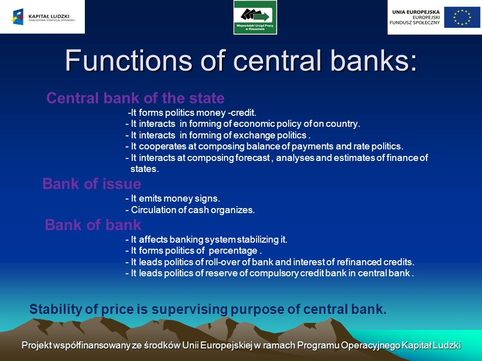 Functions of central banks: