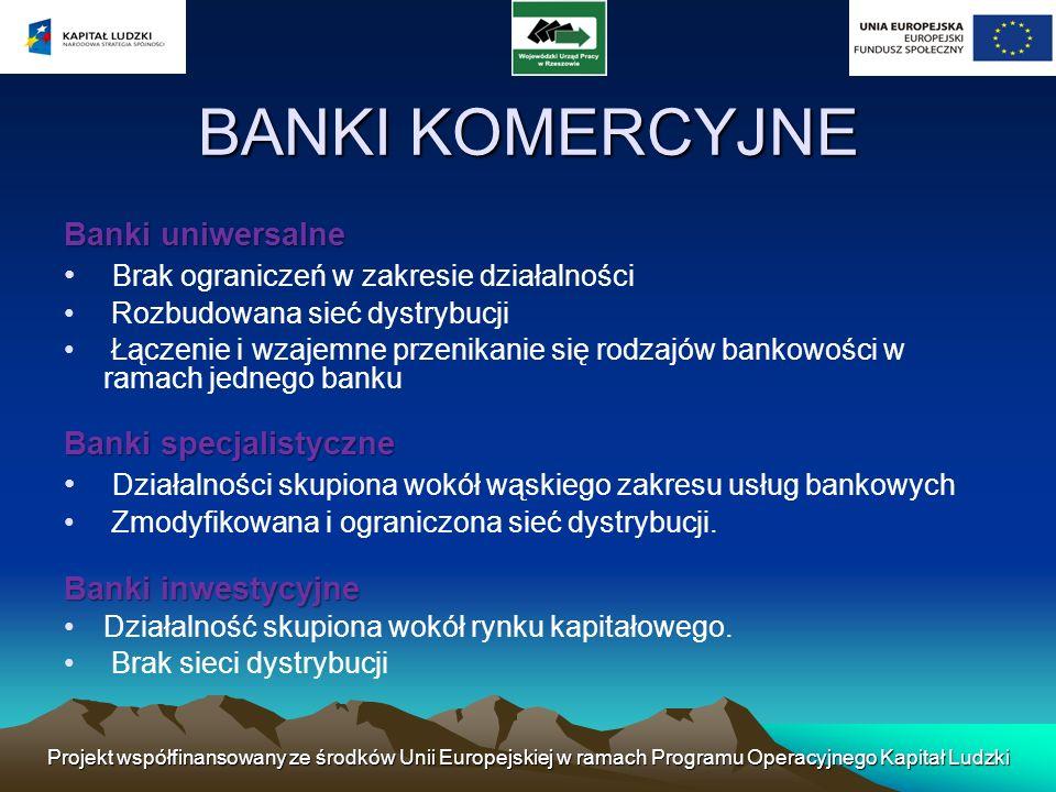 BANKI KOMERCYJNE Banki uniwersalne