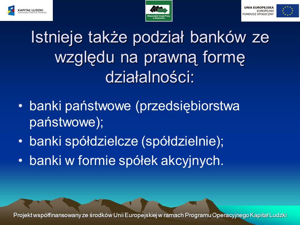 Istnieje także podział banków ze względu na prawną formę działalności: