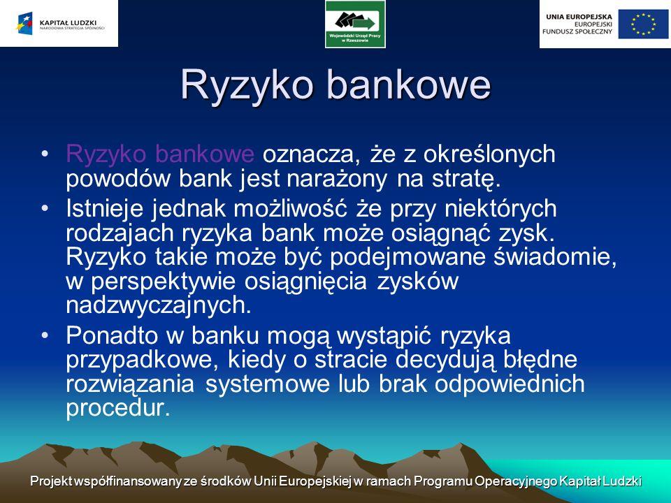 Ryzyko bankowe Ryzyko bankowe oznacza, że z określonych powodów bank jest narażony na stratę.