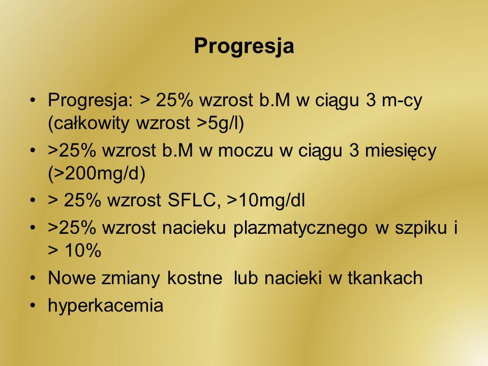 Progresja Progresja: > 25% wzrost b.M w ciągu 3 m-cy (całkowity wzrost >5g/l) >25% wzrost b.M w moczu w ciągu 3 miesięcy (>200mg/d)