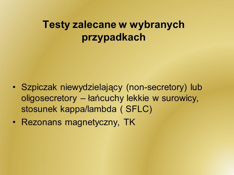 Testy zalecane w wybranych przypadkach