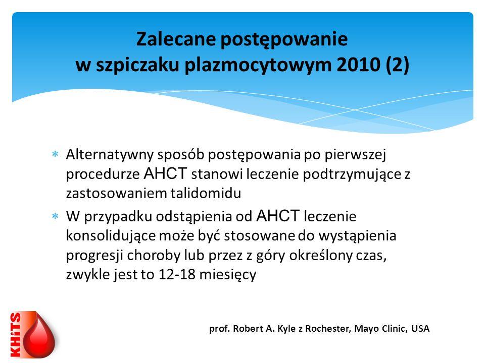 Zalecane postępowanie w szpiczaku plazmocytowym 2010 (2)