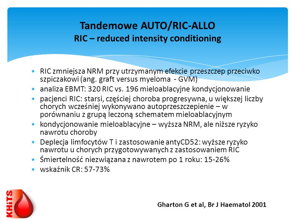 Tandemowe AUTO/RIC-ALLO RIC – reduced intensity conditioning