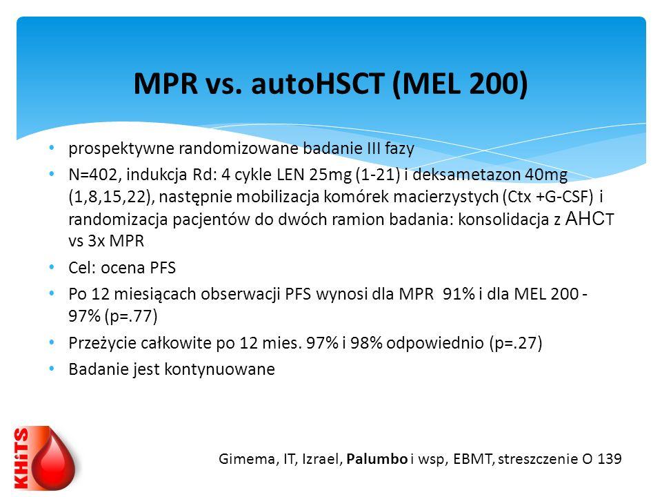 MPR vs. autoHSCT (MEL 200) prospektywne randomizowane badanie III fazy