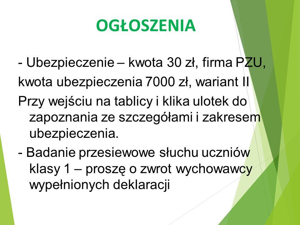 OGŁOSZENIA - Ubezpieczenie – kwota 30 zł, firma PZU,