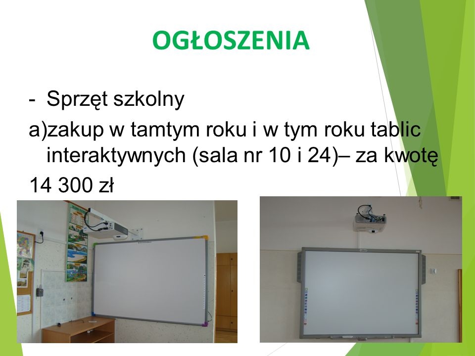 OGŁOSZENIA Sprzęt szkolny