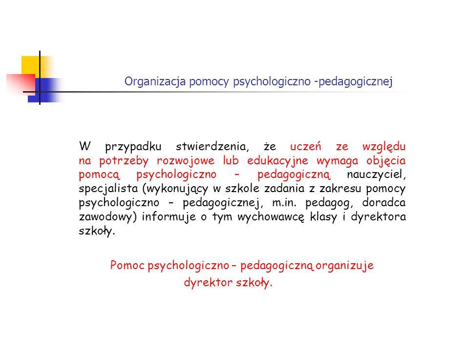 Organizacja pomocy psychologiczno -pedagogicznej