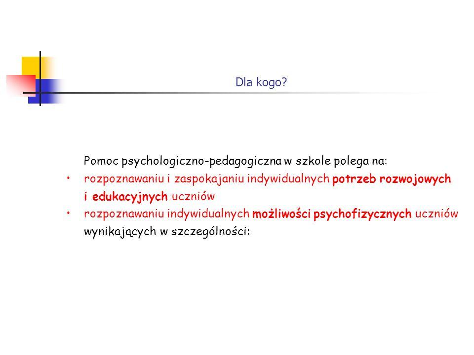 Pomoc psychologiczno-pedagogiczna w szkole polega na: