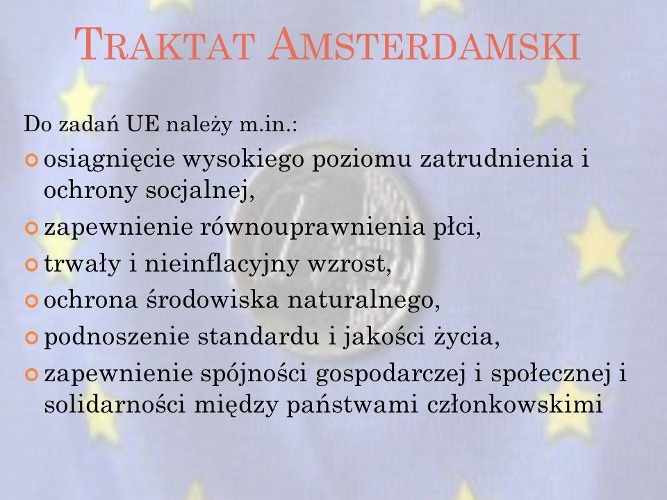 Traktat Amsterdamski Do zadań UE należy m.in.: osiągnięcie wysokiego poziomu zatrudnienia i ochrony socjalnej,