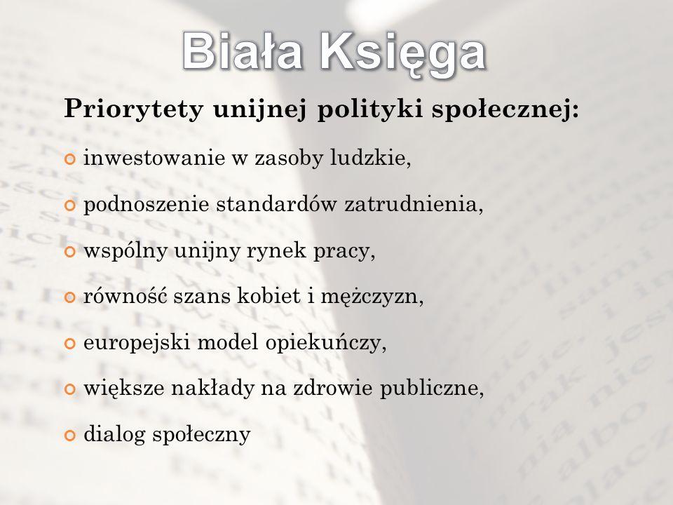 Biała Księga Priorytety unijnej polityki społecznej: