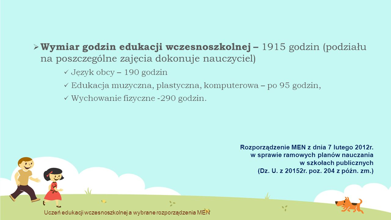 Wymiar godzin edukacji wczesnoszkolnej – 1915 godzin (podziału na poszczególne zajęcia dokonuje nauczyciel)