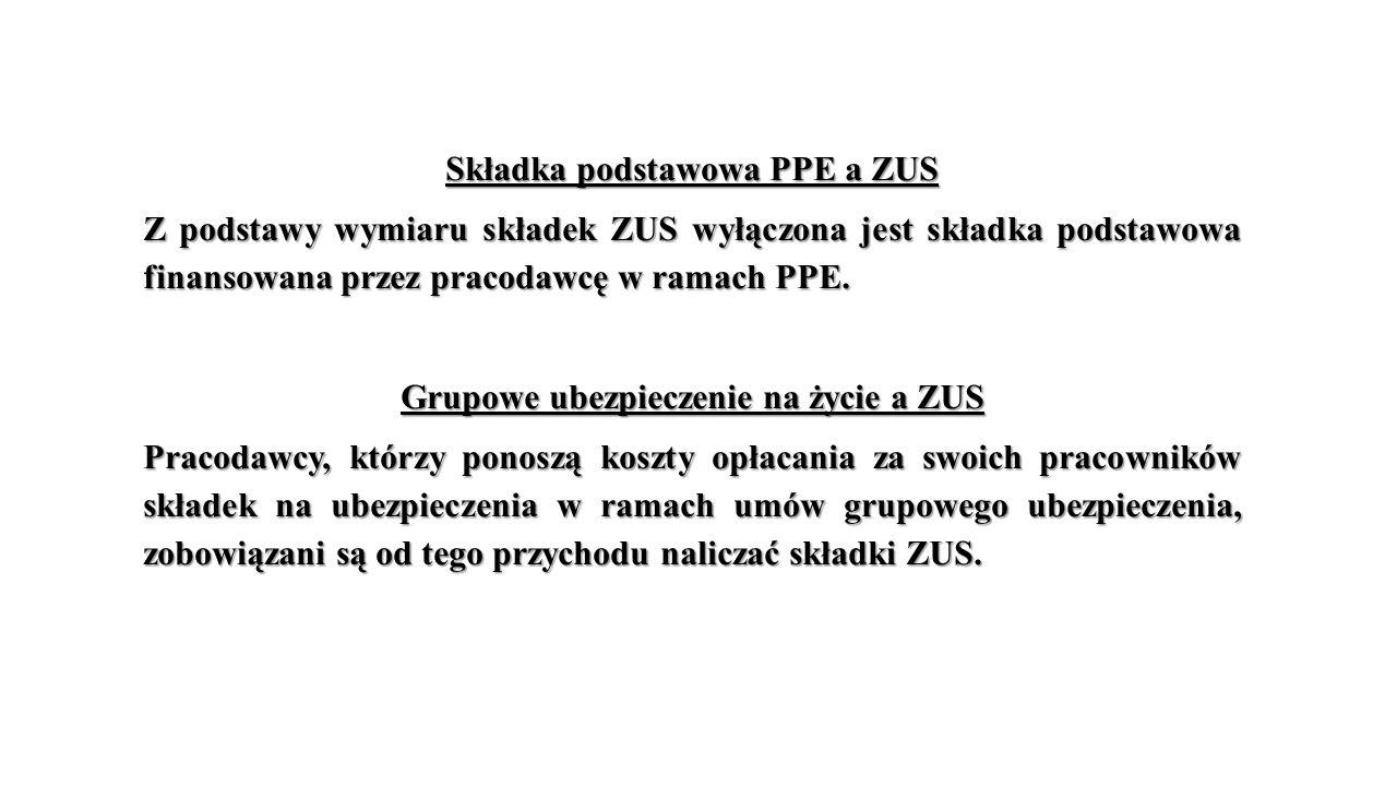Składka podstawowa PPE a ZUS Grupowe ubezpieczenie na życie a ZUS