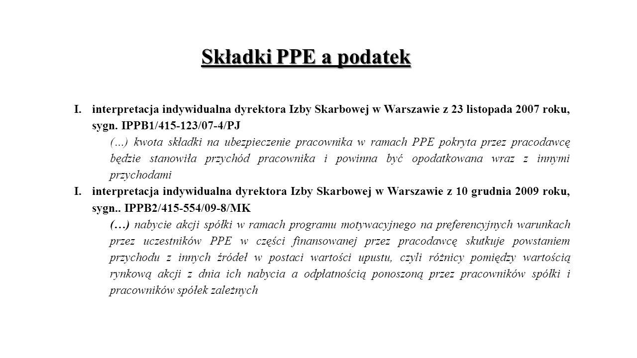 Składki PPE a podatek interpretacja indywidualna dyrektora Izby Skarbowej w Warszawie z 23 listopada 2007 roku, sygn. IPPB1/415-123/07-4/PJ.