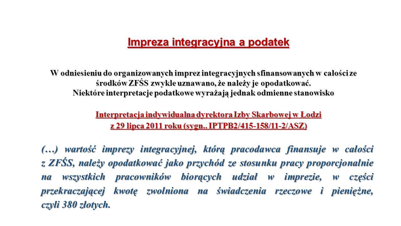 Impreza integracyjna a podatek