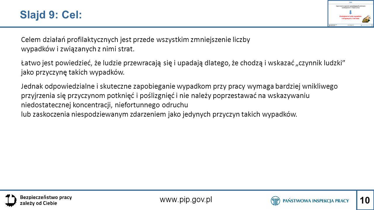 Slajd 9: Cel: Celem działań profilaktycznych jest przede wszystkim zmniejszenie liczby wypadków i związanych z nimi strat.
