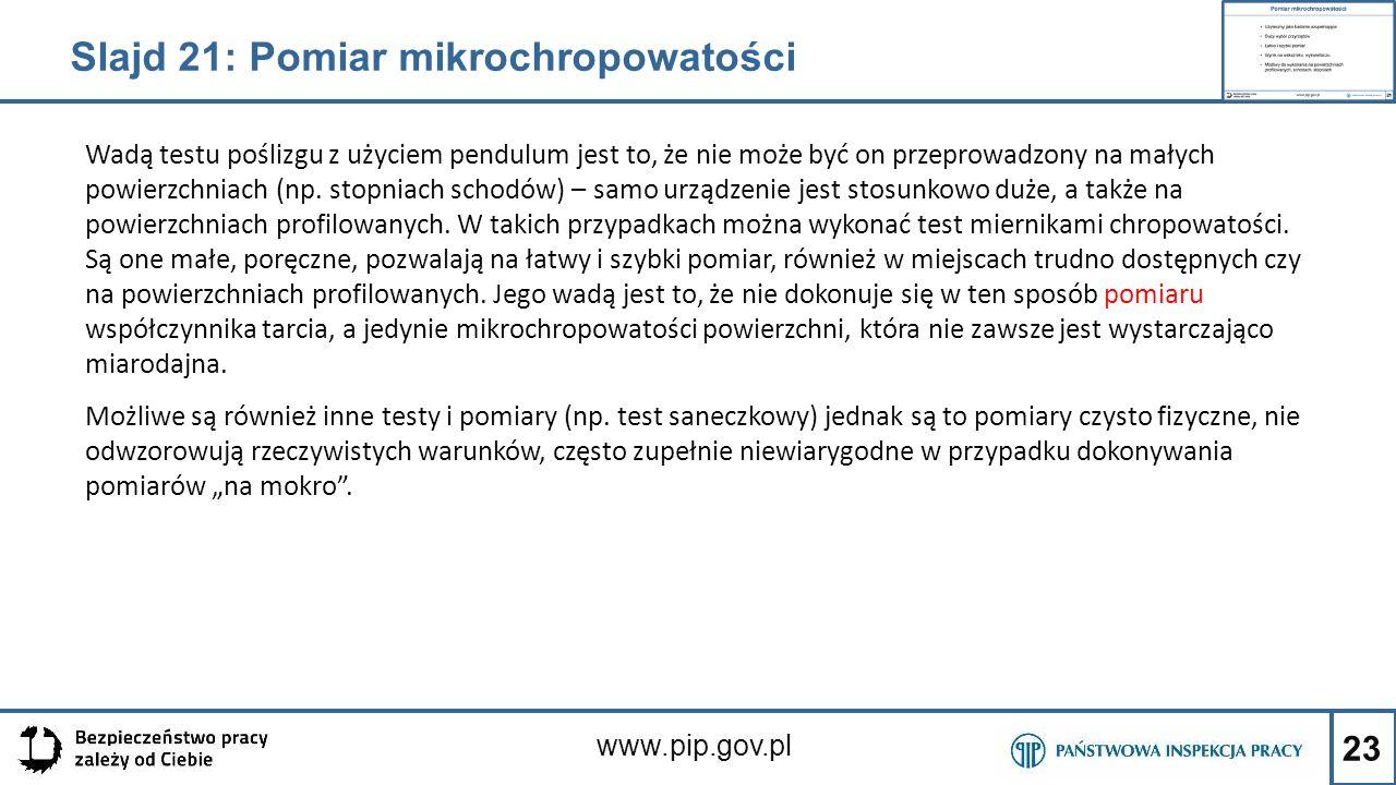 Slajd 21: Pomiar mikrochropowatości