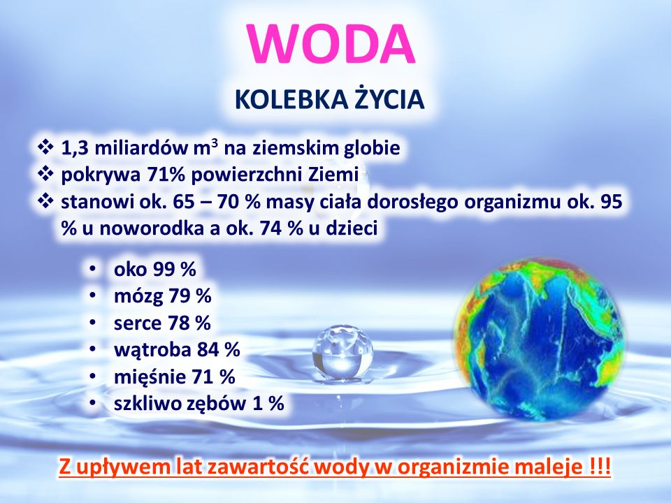 Z upływem lat zawartość wody w organizmie maleje !!!