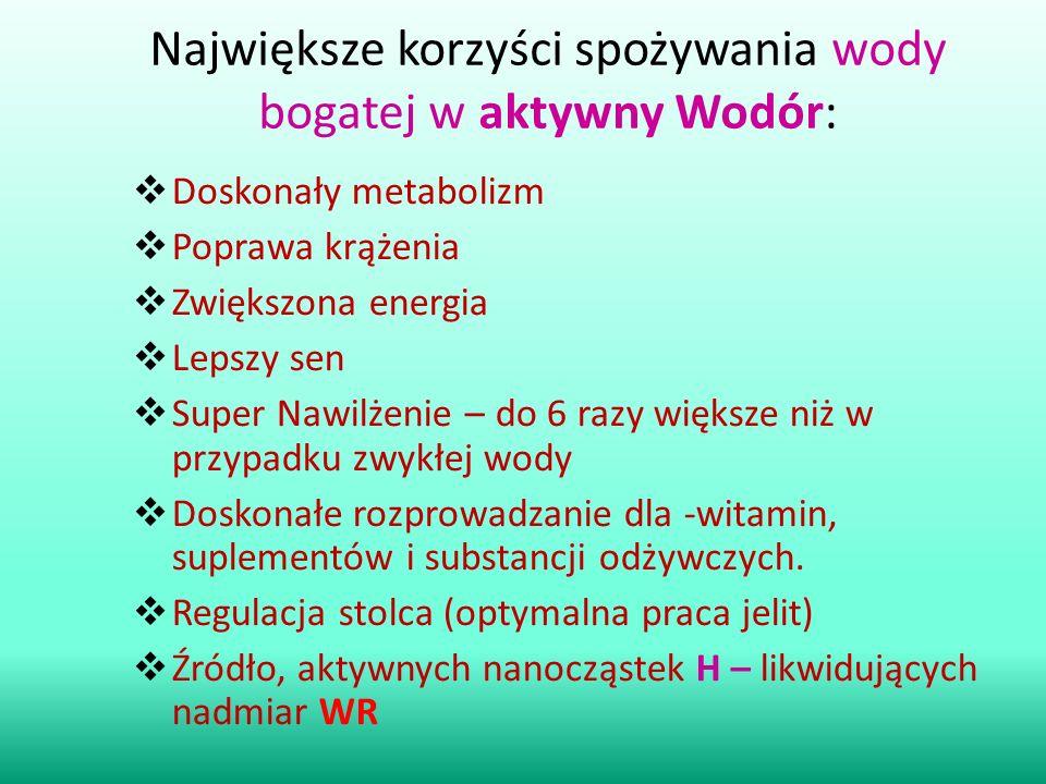 Największe korzyści spożywania wody bogatej w aktywny Wodór: