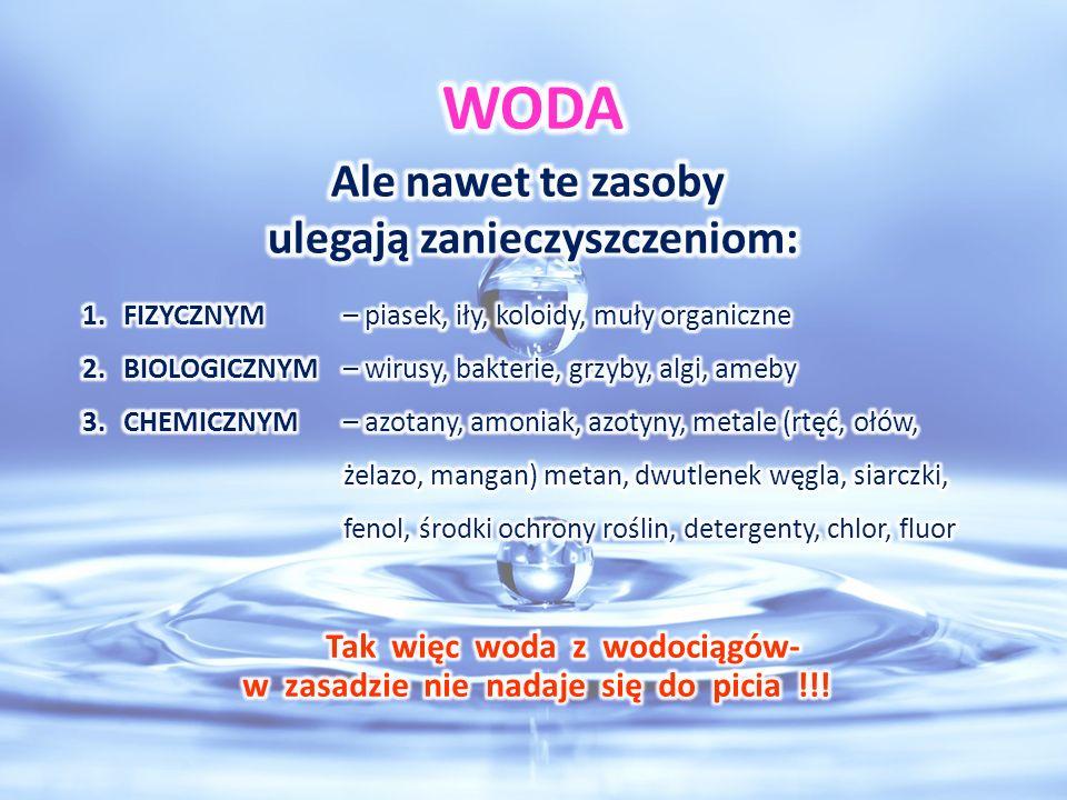 WODA Ale nawet te zasoby ulegają zanieczyszczeniom: