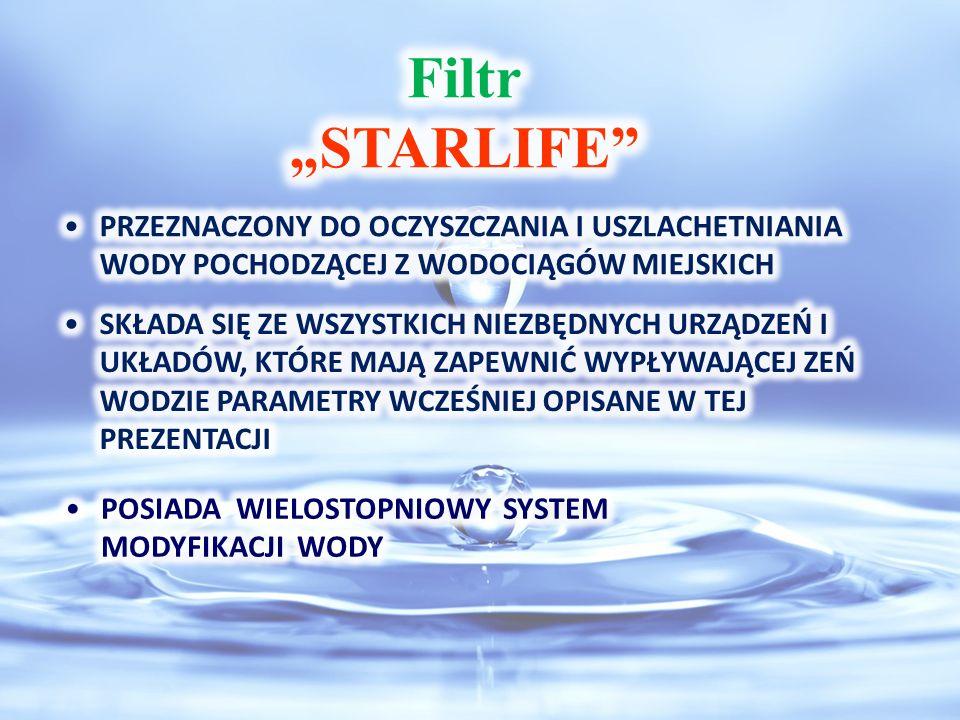 """Filtr """"STARLIFE PRZEZNACZONY DO OCZYSZCZANIA I USZLACHETNIANIA WODY POCHODZĄCEJ Z WODOCIĄGÓW MIEJSKICH."""