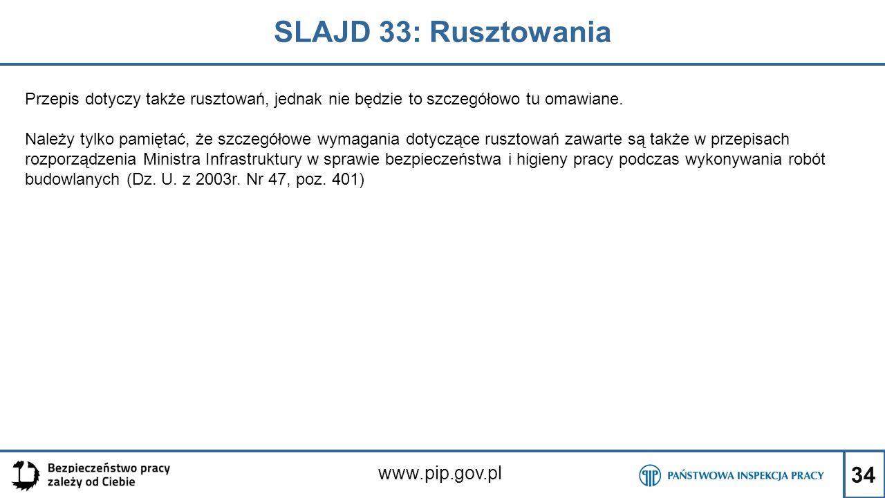 SLAJD 33: Rusztowania www.pip.gov.pl
