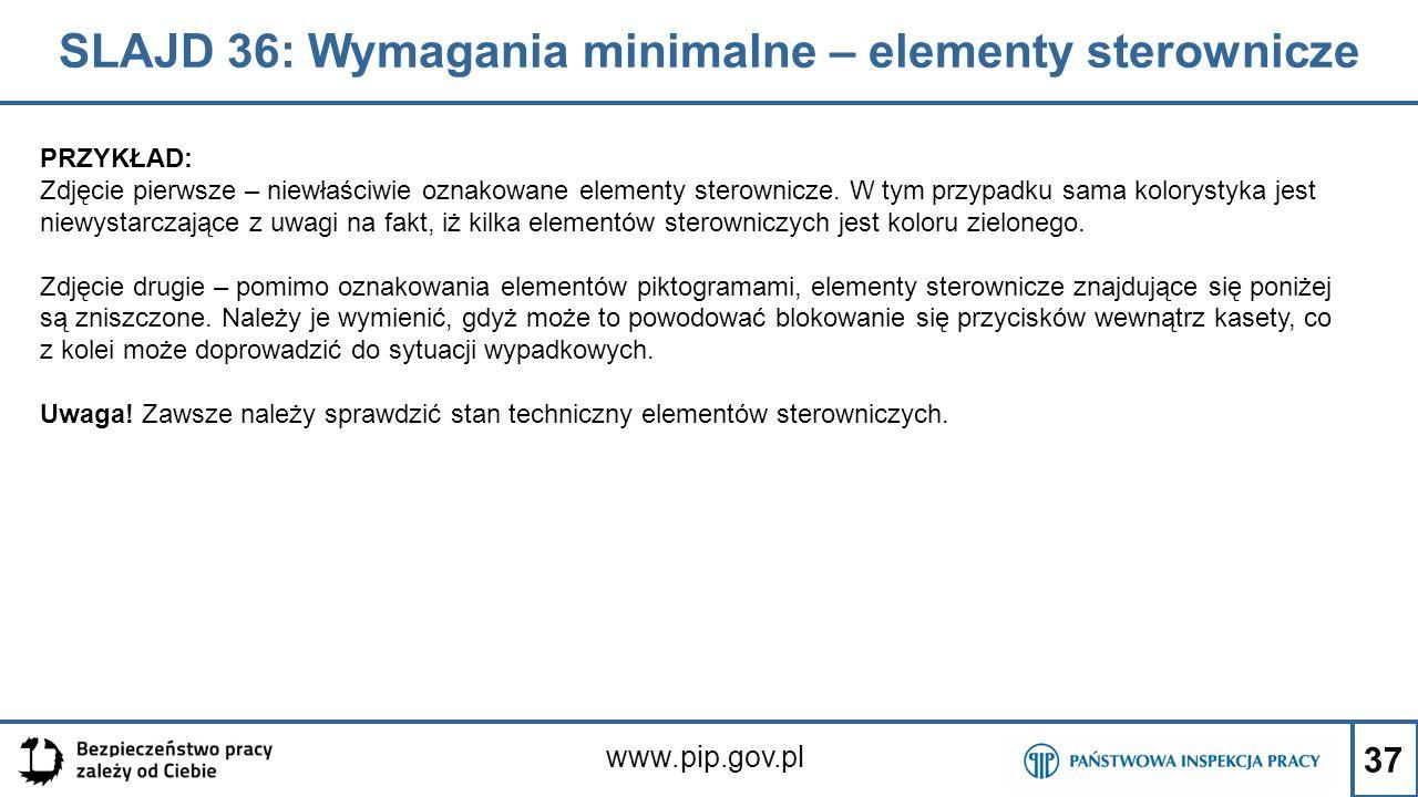 SLAJD 36: Wymagania minimalne – elementy sterownicze