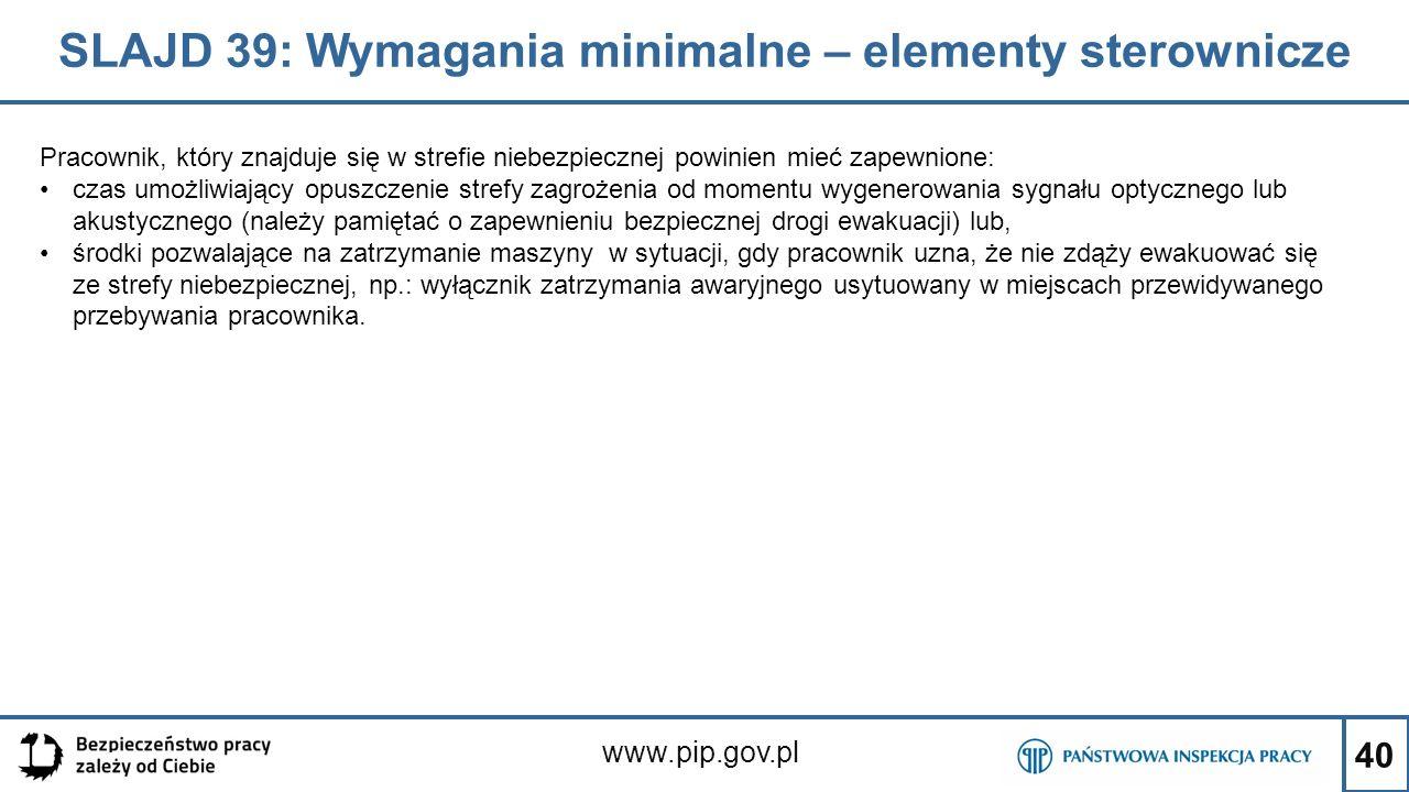 SLAJD 39: Wymagania minimalne – elementy sterownicze