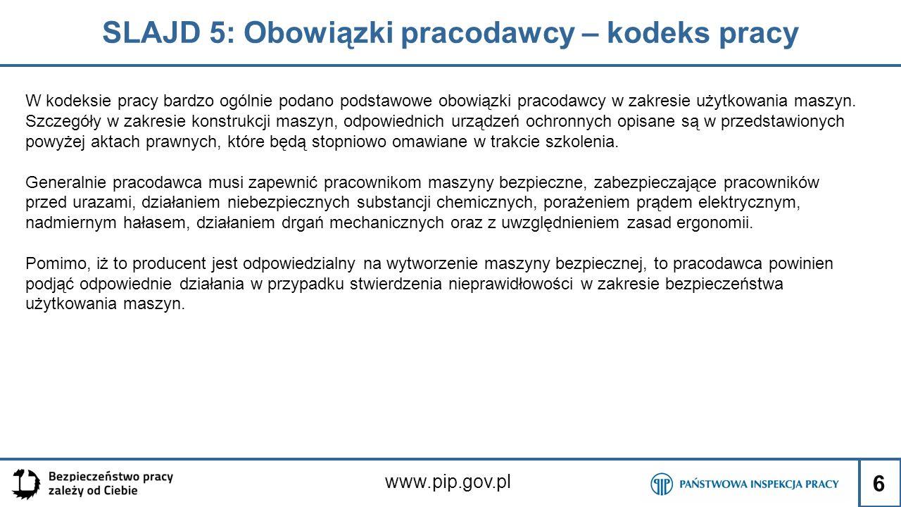 SLAJD 5: Obowiązki pracodawcy – kodeks pracy