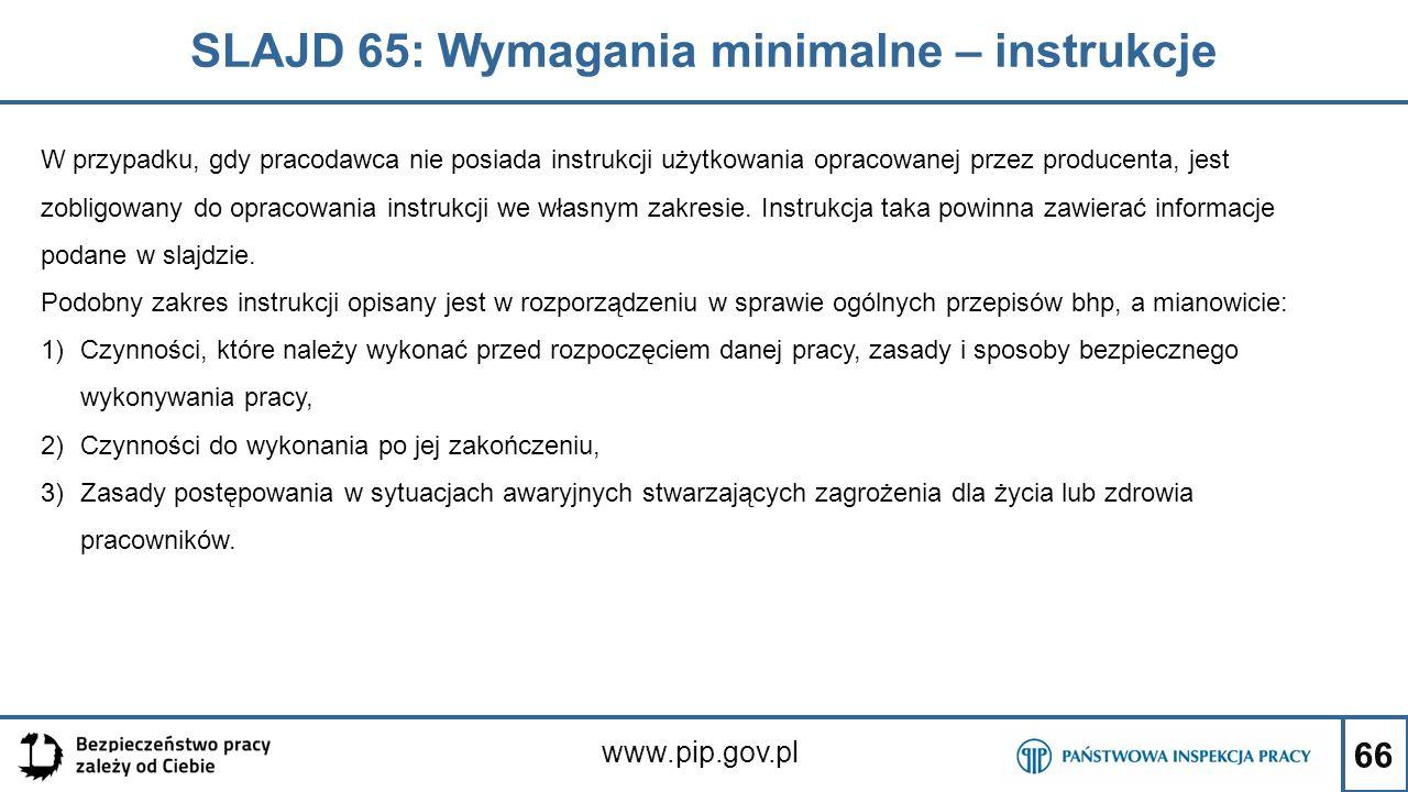 SLAJD 65: Wymagania minimalne – instrukcje