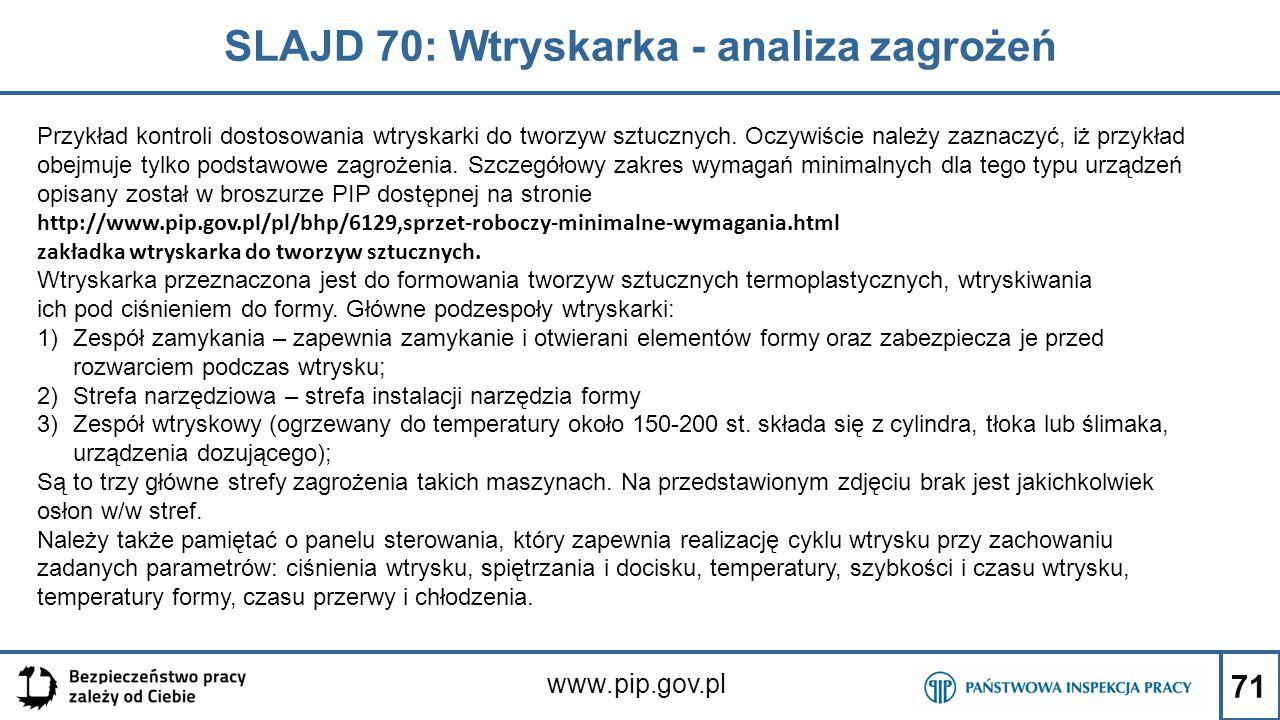 SLAJD 70: Wtryskarka - analiza zagrożeń